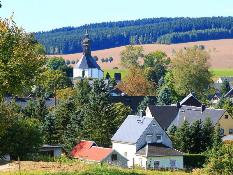 Cämmerswalde Kirche und Häuser